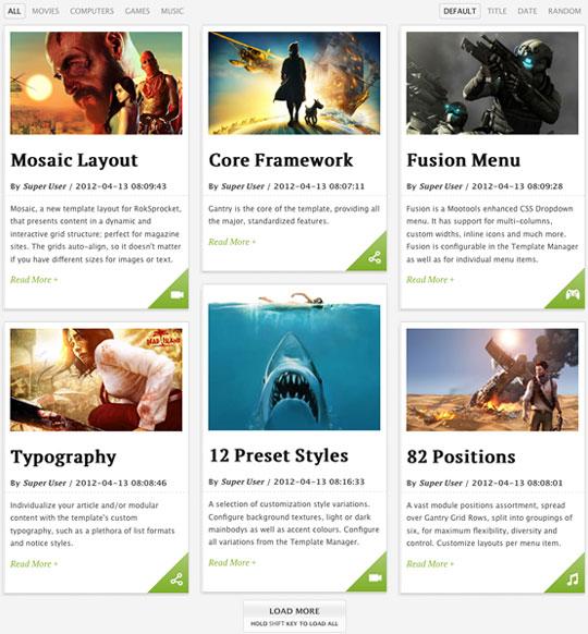 Roksprocket Mosaic Template layout
