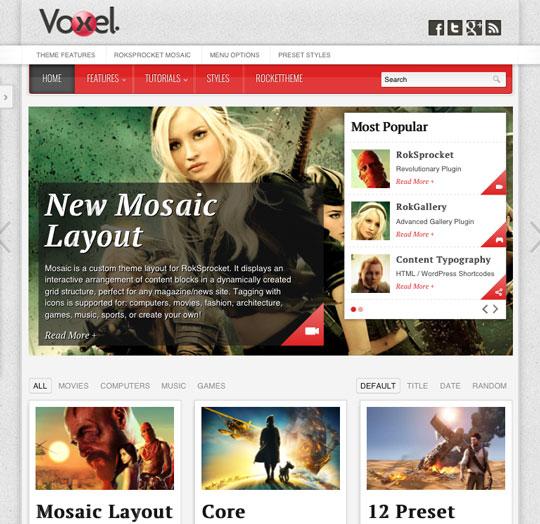 RocketTheme Voxel Demo on iPad Mini