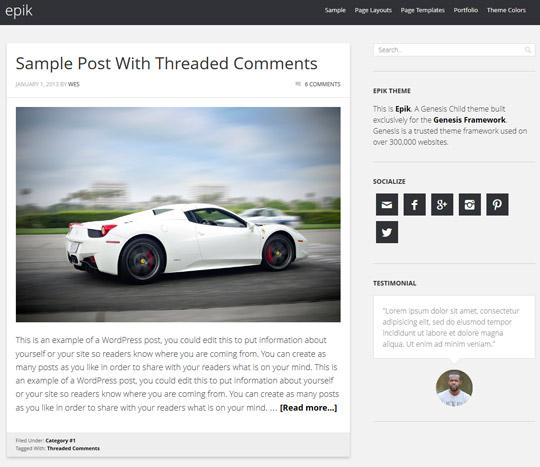 Epik Blog page layout
