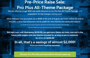 StudioPress Pre-Price Raise Sale