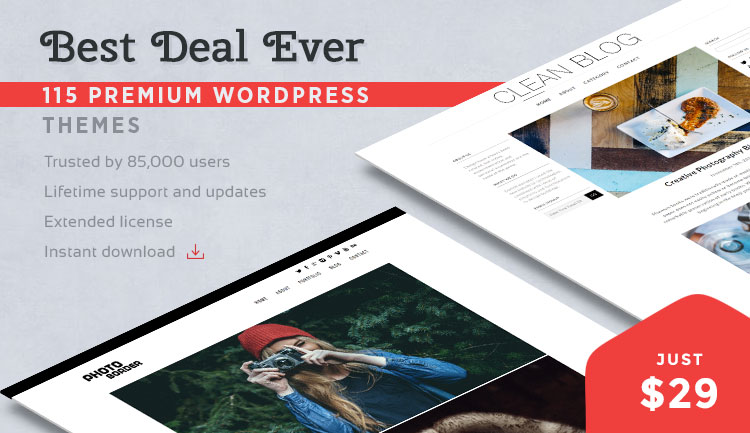 115 Premium WordPress themes for $29